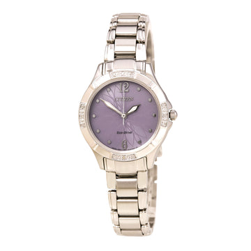 Citizen Women's Diamond Watch - Eco Drive Steel Bracelet Purple Dial | EM0450-53X