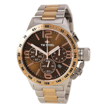 TW Steel CB153 Men's Canteen Bracelet Two Tone Rose Gold Steel Chronograph Brown Dial Date Watch