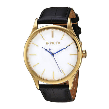 Invicta Men's Strap Watch - Vintage White Dial Black Leather | 23024