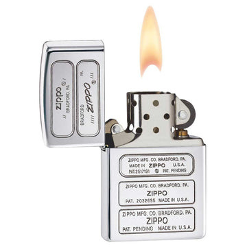 Zippo 28381 Bottom Stamp High Polish Chrome Classic Windproof Pocket Lighter