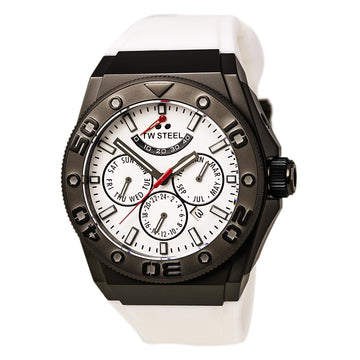 TW Steel CE5002 Men's CEO Diver White Silicone Strap Automatic White Dial Power Reserve Watch