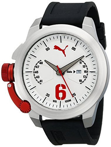 Puma PU103781001 Men's Advance Black Silicone Strap White Dial Quartz Lefty Watch