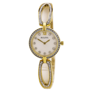 Bulova 98L225 Women's Crystal Accented White MOP Dial Yellow Gold Steel Bangle Bracelet Watch