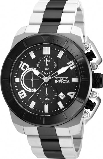 Invicta 23408 Men's Pro Diver Black Carbon Fiber Dial Two Tone Black IP Steel Chronograph Watch