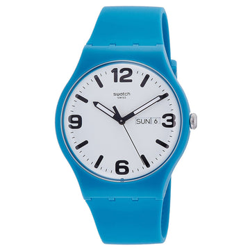Swatch SUOS704 Unisex Time to Swatch Costazzurra White Dial Blue Silicone Strap Swiss Watch