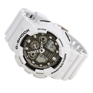 Casio GA100LG-8A Men's G-Shock Grey Ana-Digi Dial World Time White Resin Strap Quartz Dive Watch