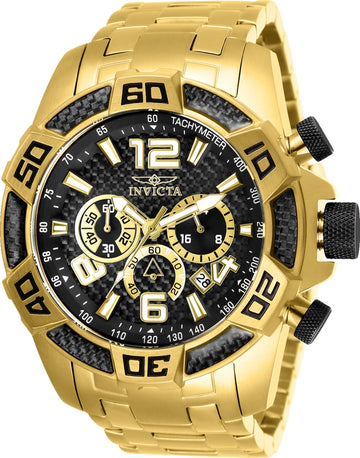 Invicta Men's Chronograph Watch - Pro Diver Black Dial Yellow Gold Bracelet | 25853