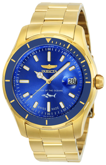 Invicta Men's Bracelet Watch - Pro Diver Swiss Blue Dial Yellow Gold Steel | 25811