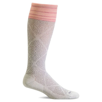 Sockwell Knee High Socks - Full Floral Graduated Compression, Natural | SW70W
