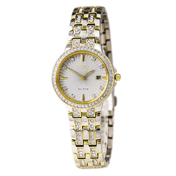 Citizen Women's Eco Drive Watch - Silhouette Crystal Two Tone Steel White Dial