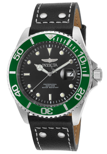 Invicta 22072 Men's Pro Diver Green Accented Bezel Black Dial Black Leather Strap Dive Watch