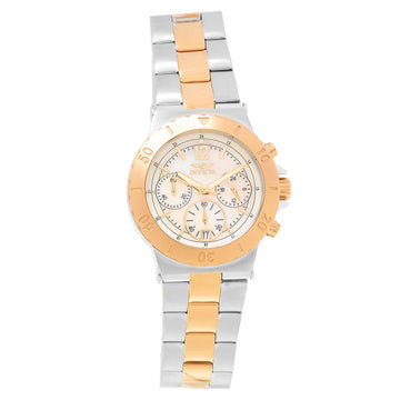 Invicta 21410 Women's Specialty White Oyster Dial Two Tone Rose Gold Bracelet Chronograph Watch
