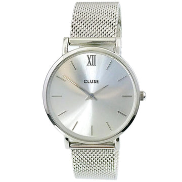 Cluse CL30023 Women's Steel Mesh Bracelet Minuit Silver Dial Quartz Watch