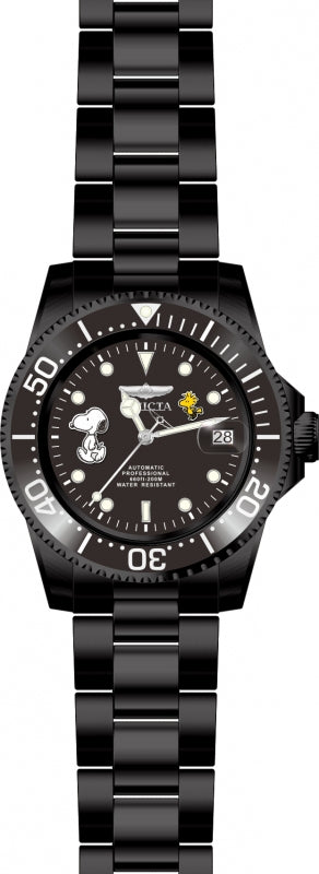 Invicta 24787 Men's Snoopy & Woodstock Character Black Dial Black IP Steel Automatic Dive Watch