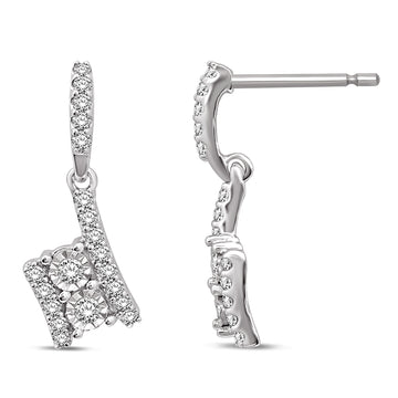 14K White Gold 1/3 Ct.Tw. Diamond Fahion Earrings
