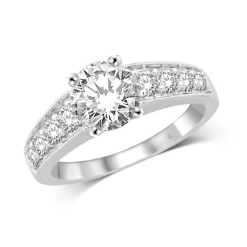 14K White Gold 3/5 Ct.Tw Diamond Engagement Ring