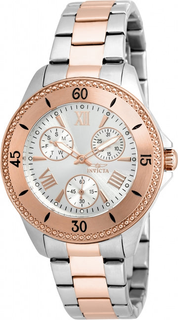 Invicta Women's Angel Two Tone Rose Gold Watch - Quartz Silver Dial Day-Date | 21686