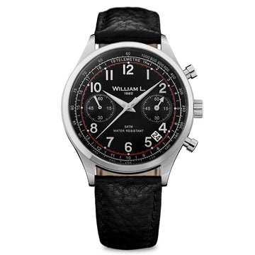 William L. 1985 WLAC01NRBN Men's Chronographs Vintage Style Black Leather Strap Black Dial Watch