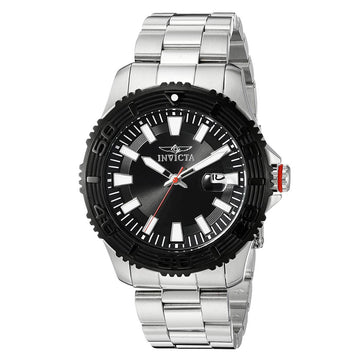 Invicta Men's Steel Bracelet Watch - Pro Diver Black Dial Quartz Date | 22405