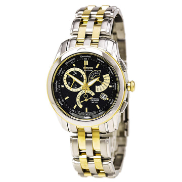 Citizen Men's Alarm Watch - Calibre 8700 Perpetual Calendar Black Dial Two Tone