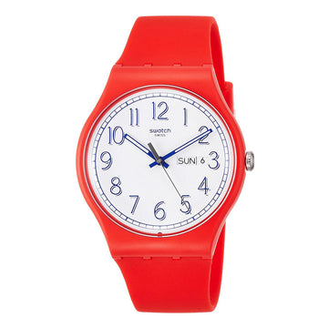 Swatch SUOR707 Unisex Time to Swatch Red Me Up White Dial Red Silicone Strap Swiss Watch