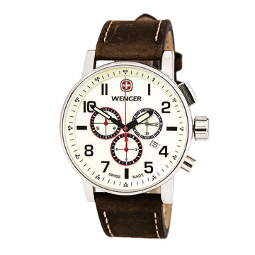 Wenger 01.1243.105 Men's Commando Swiss Brown Leather Strap Chronograph Beige Dial Date Watch