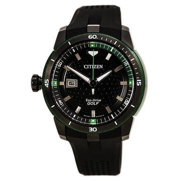 Citizen AW1505-03E Men's Ecosphere Golf Lefty Black Dial Eco-Drive Black Polyurethane Strap Watch