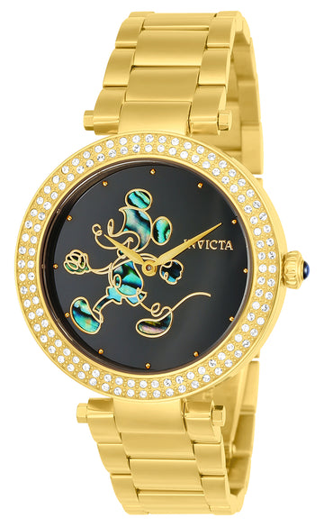 Invicta Women's Yellow Gold Steel Crystal Watch - Disney Quartz Black Dial | 23789