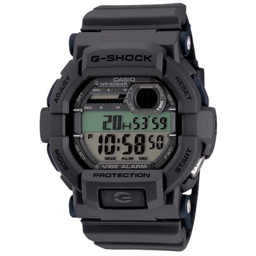 Casio Men's Digital Watch - G-Shock Vibration Alarm Grey Dial Resin Band | GD350-8