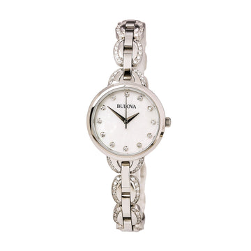 Bulova Women's Stainless Steel Bracelet Watch - Crystal Quartz MOP Dial | 96L203