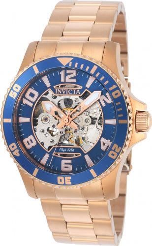 Invicta 22605 Men's Rose Gold Steel Automatic Objet D Art Blue-Silver Semi-Skeleton Dial Watch