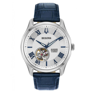 Bulova Men's Strap Watch - Classic Automatic Silver Dial Blue Leather | 96A206