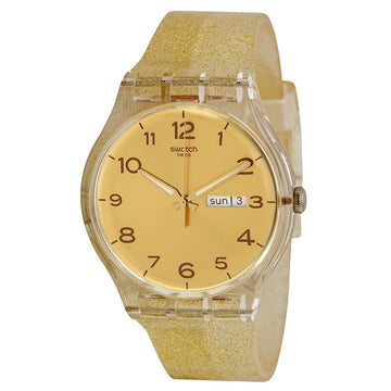 Swatch SUOK704 Unisex Golden Sparkle Gold Dial Transparent Beige Silicone Strap Day Date Watch