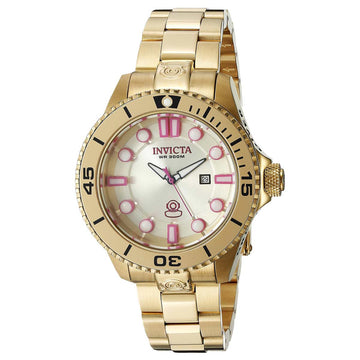Invicta Women's Yellow Gold Steel Watch - Pro Diver Quartz Dive Pink Accent Gold Dial