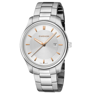 Wenger 01.1441.105 Men's City Classic Stainless Steel Bracelet Silver Tone Dial Swiss Date Watch