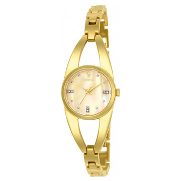 Invicta 23313 Women's Yellow Bangle Bracelet Gabrielle Union Crystal Mother of Pearl Dial Watch Set