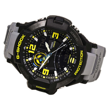 Casio GA1000-8A Men's G-Shock G-Aviation World Time Black Ana-Digi Dial Grey Resin Strap Dive Watch