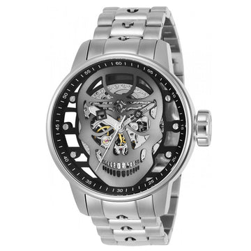Invicta 22927 Men's S1 Rally Gunmetal Skeleton Skull Dial Steel Bracelet Mechanical Watch