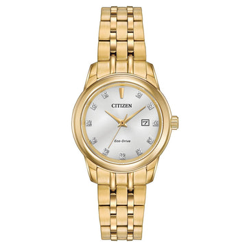 Citizen Women's Diamond Watch - Eco Drive Yellow Gold Steel Silver Dial | EW2392-54A