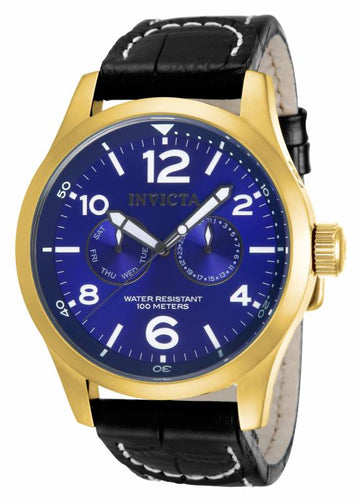 Invicta 12173 Men's Specialty Quartz Blue Dial Black Leather Strap Watch