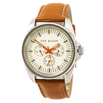 Ted Baker 10025261 Men's Vintage Quartz Brown Leather Strap Beige Dial Day Date Watch
