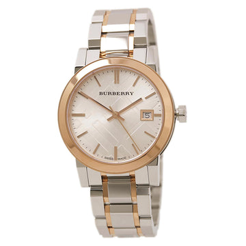 Burberry BU9105 Women's Silver Check Dial Two Tone Rose Gold Steel Bracelet Watch