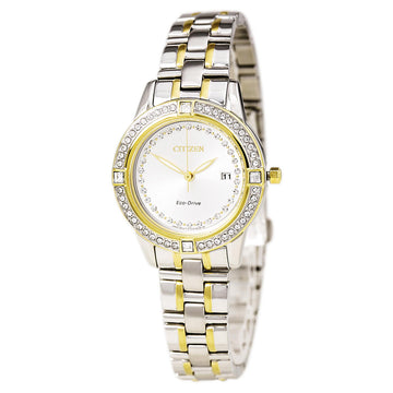 Citizen FE1154-57A Women's Two Tone Yellow Steel Eco Drive Silhouette Crystal Silver Dial Date Watch