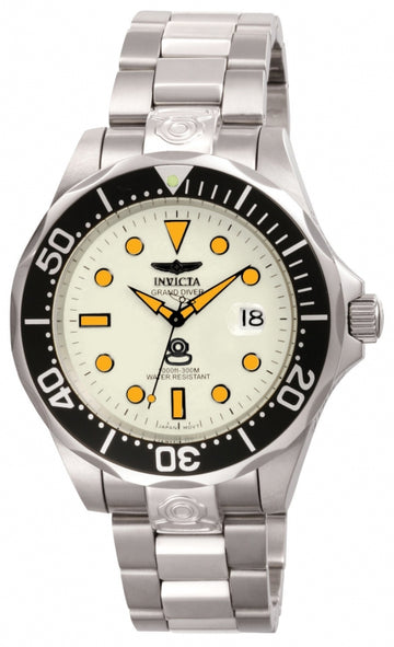 Invicta Men's Grand Diver Automatic Watch - Lume White Dial Steel Bracelet | 10640