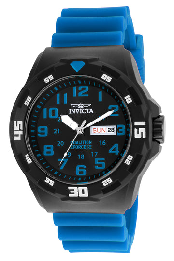 Invicta Men's Strap Watch - Coalition Forces Quartz Black Dial Blue Rubber | 25330
