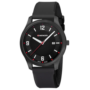 Wenger 01.1441.111 Men's Active City Black Dial Black Silicone Strap Watch