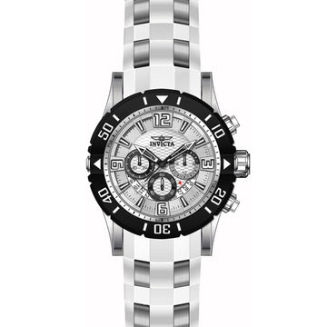 Invicta 23697 Men's Pro Diver Silver Dial Steel & White Polyurethane Strap Chronograph Dive Watch