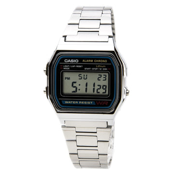 Casio A158W-1 Men's Classic Digital Grey Dial Stainless Steel Chrono Stop Watch
