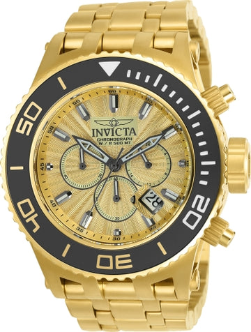 Invicta 23937 Men's Subaqua Gold Dial Chronograph Yellow Gold Steel Bracelet Dive Watch