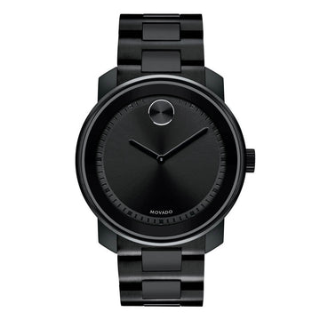 Movado Men's Bracelet Watch - Bold Black Dial Black Stainless Steel | 3600471